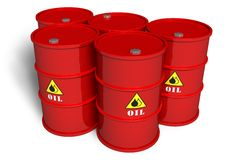 Oil barrels. Set of red oil barrels isolated over white background vector illustration