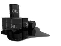 Oil barrels. 3d illustration of oil barrels and pool, over white background Stock Photos