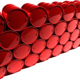 Oil barrels. Red oil barrels on white background Stock Photography