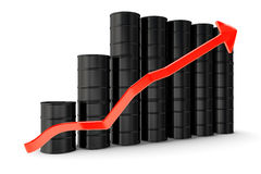 Oil barrels. With increasing arrow Stock Image