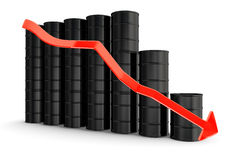 Oil barrels. With decreasing arrow Royalty Free Stock Images