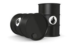 Oil barrels. Closeup of two oil barrels (3d render Stock Image