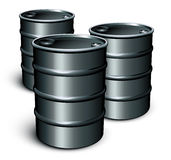 Oil barrels. Three oil barrels isolated on white royalty free illustration