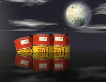 Oil barrels adrift Stock Photo