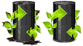 Oil barrels with arrow Royalty Free Stock Image