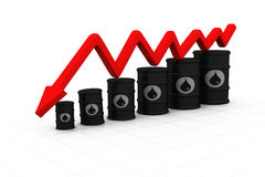 Oil barrels with arrow down. Oil price fall stock illustration