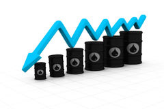 Oil barrels with arrow down. Oil price fall royalty free illustration