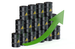 Oil barrels with arrow Royalty Free Stock Photos