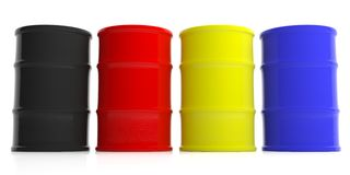 Oil barrels background. 3d illustration. Black oil barrels stack background. 3d illustration Royalty Free Stock Photo