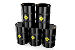 Oil barrels. Black oil barrels on a white background Royalty Free Stock Photos
