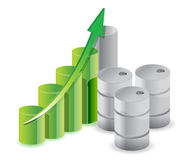 Oil barrels business graph Royalty Free Stock Images