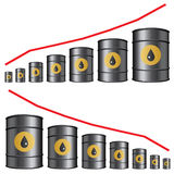 Oil barrels chart Stock Photo