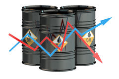 Oil barrels with charts Stock Photos