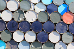 Oil barrels or chemical drums stacked up Royalty Free Stock Image
