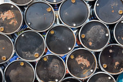 Oil barrels or chemical drums stacked up Royalty Free Stock Photo