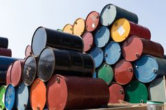 Oil barrels or chemical drums stacked up Royalty Free Stock Photos