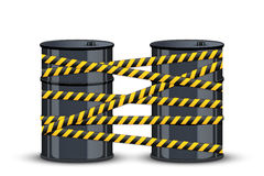 Oil barrels with danger line Royalty Free Stock Photo