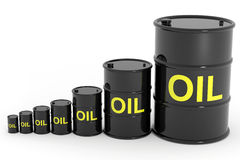 Oil barrels different size. Royalty Free Stock Photo