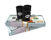 Oil Barrels on Dollar Notes Royalty Free Stock Images