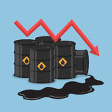 Oil barrels and downtrend graph Royalty Free Stock Photo