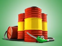 Oil barrels and drum containers 3render on green. Oil barrels and drum containers 3render on stock illustration