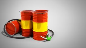 Oil barrels and drum containers 3render on grey. Oil barrels and drum containers 3render on stock illustration