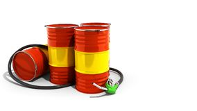 Oil barrels and drum containers 3render on white. Oil barrels and drum containers 3render on vector illustration