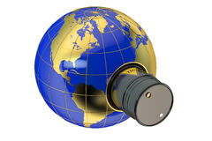 Oil barrels and earth globe Stock Images
