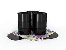Oil barrels on euro notes Stock Photos