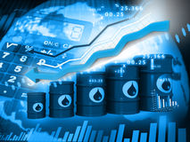 Oil Barrels with  falling oil price graph Stock Photo