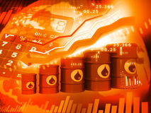 Oil Barrels with  falling oil price graph Royalty Free Stock Image
