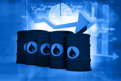 Oil Barrels with falling oil price graph Stock Photography