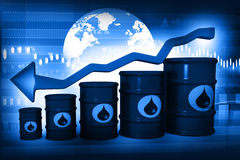 Oil Barrels with falling oil price graph Royalty Free Stock Photography