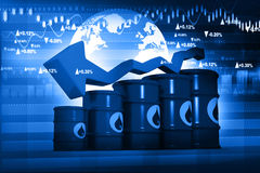 Oil Barrels with falling oil price graph Royalty Free Stock Photos