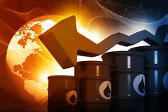 Oil Barrels with falling oil price graph Stock Images
