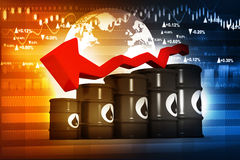 Oil Barrels with falling oil price graph Stock Photos