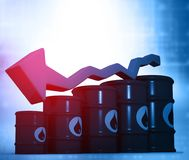 Oil Barrels with falling oil price graph. 3d illustration Stock Image
