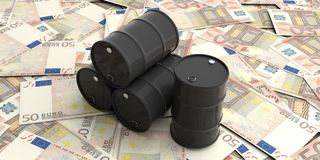 Oil barrels on fifty euros banknotes. 3d illustration. Black oil barrels on fifty euros banknotes. 3d illustration Royalty Free Stock Photos