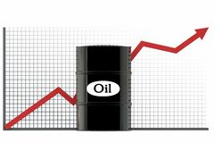 Oil barrels and a financial chart on white background.  price oil up.  business concept.  Royalty Free Stock Photo