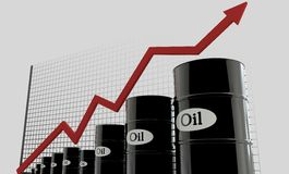 Oil barrels and a financial chart on white background.  price oil up.  business concept.  Stock Photos