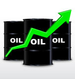 Oil Barrels And Green Arrow Chart On White Background, Up Trend Stock Photo