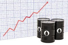 Oil barrels with growing chart. 3D rendering. Oil barrels with growing chart. 3D vector illustration