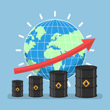 Oil barrels and growth graph with wolrd on background Stock Images