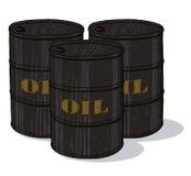 Oil barrels illustration. Oil barrels with printed golden text cartoon style illustration Stock Photo