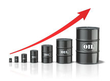 Oil barrels with increasing arrow. 3D concept with oil barrels with increasing arrow Royalty Free Stock Photos