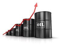 Oil barrels with increasing arrow. Computer generated image. 3d rendered image Stock Photography