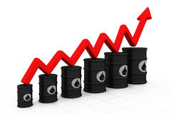 Oil barrels with increasing arrow Stock Photo