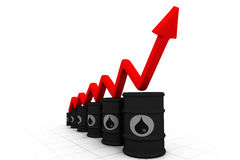 Oil barrels with increasing arrow Stock Photos