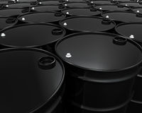 Oil Barrels Isolated. On white background. 3D render Stock Photos