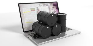 Oil barrels on a laptop on white background. 3d illustration. Black oil barrels on a laptop isolated on white background. 3d illustration Stock Photo